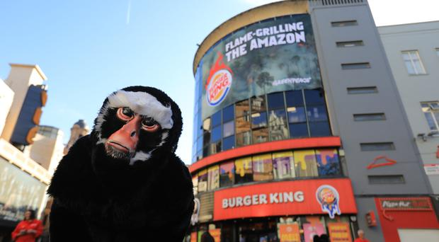 Protester dressed as a monkeys outside Burger King as Greenpeace banner is unveiled (Paul Hackett/Greenpeace/PA)