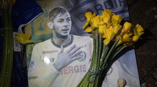 A tribute to Emiliano Sala at Cardiff City Stadium (Aaron Chown/PA)