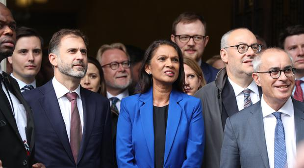 Gina Miller reacts outside the Supreme Court in London, where judges have ruled that Prime Minister Boris Johnson's advice to the Queen to suspend Parliament for five weeks was unlawful (PA)