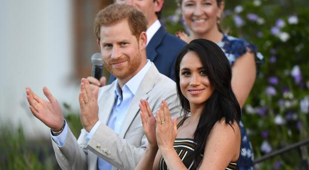 The Duke and Duchess of Sussex during a reception at the High Commissioner's Residence in Cape Town, on day two of their tour of Africa.