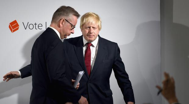 File photo of Michael Gove (left) and Boris Johnson after a press conference, as David Cameron resigned following a shock vote by the country to leave the EU (Mary Turner/PA)