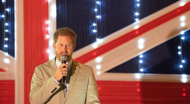 The Duke of Sussex makes a speech at a reception at the British High Commissioner's Residence in Lilongwe, Malawi (Dominic Lipinski/PA)