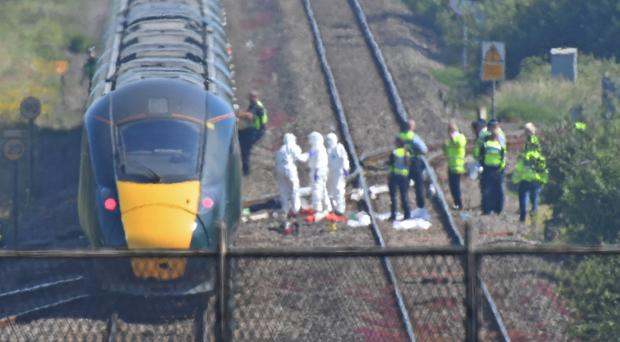The scene of the incident on a section of track near Port Talbot (Jacob King/PA)