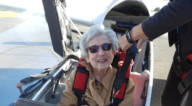 Olwyn Hopkins celebrated her 100th birthday with a glider flight organised by staff at Davers Court care home in Bury St Edmunds (Davers Court care home/PA)