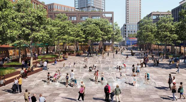 "An artist's impression shows what a new £3.3bn ""town centre"" development will look like in Canada Water, south-east London (Southwark Council/PA)"