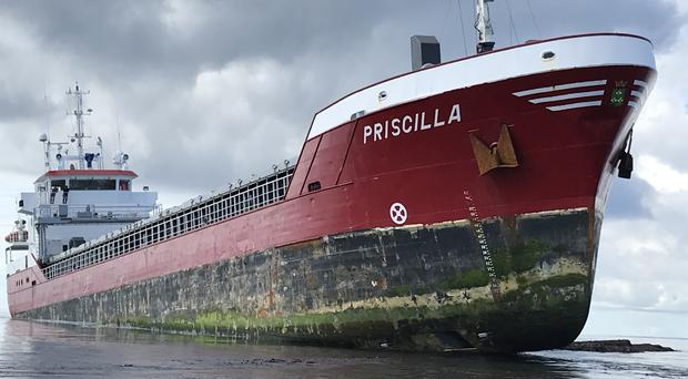 The MV Priscilla grounded in the Pentland Skerries off Orkney last summer (RNLI/PA)