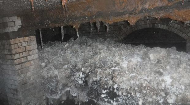 The fatberg found lurking under the seaside town last year (South West Water/PA)