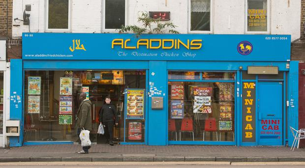 General view of Aladdins chicken shop in Hounslow, west London (PA)