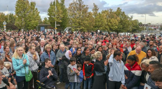 Hundreds of people pay their respects at a vigil outside Hillingdon station in London, held for Tashan Daniel, who was stabbed at the station whilst on his way to an Arsenal game last month