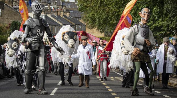 Hundreds of puppeteers take part in the Puppet Parade in Skipton, North Yorks (Danny Lawson/PA)