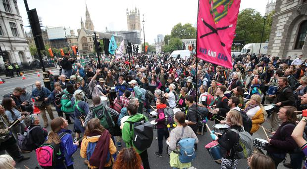 Protests by Extinction Rebellion get under way in Westminster, London (Yui Mok/PA)