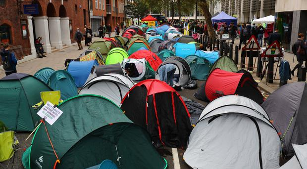 The Extinction Rebellion camp in Marsham Street, Westminster (Aaron Chown/PA)