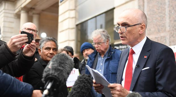 Chris Williamson outside the Birmingham Civil Justice Centre, where he lost his High Court bid to be reinstated to the Labour Party (Joe Giddens/PA)