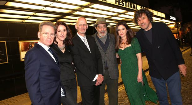 Dermot Lavery and Michael Hewitt of Doubleband, the filmmakers behind Lost Lives, with actors Bronagh Waugh, Ciaran Hinds, Judith Roddy and Stephen Rea