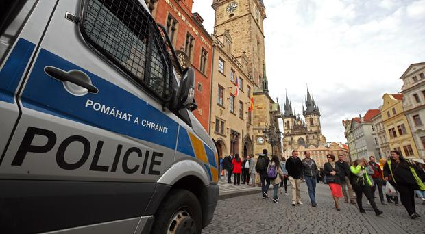 Police in Prague before the football match (Nick Potts/PA)