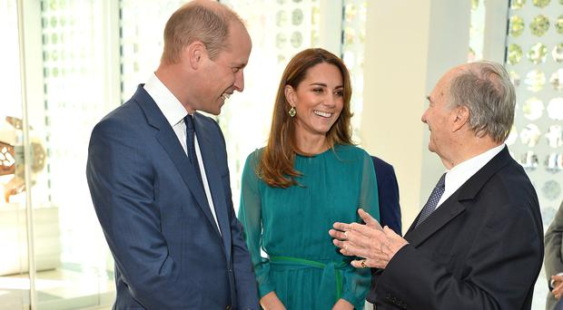 The Duke and Duchess of Cambridge meet with the Aga Khan in central London ahead of their royal tour (Jeff Spicer/PA)