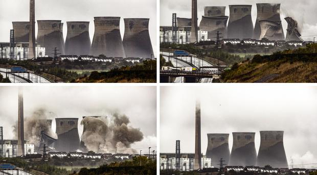 Cooling towers at the Ferrybridge Power Station are demolished (Danny Lawson/PA)