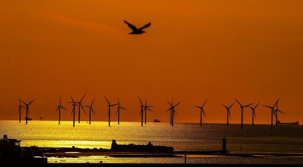The amount of offshore wind turbines around the UK has increased (Peter Byrne/PA)