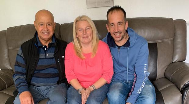 Newlyweds Joy and Bryan (right), who have adopted two boys, pictured with Bryan's father Dave (left) (Barnardo's/PA)