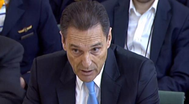 The former CEO of Thomas Cook Peter Fankhauser speaking to MPs (House of Commons/PA)