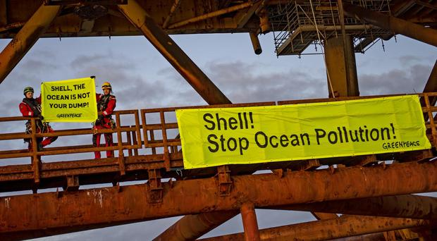 Greenpeace activists have ended their occupation of two oil platforms in Shell's Brent field (Marten van Dijl/Greenpeace)