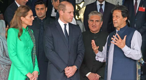 The Duke and Duchess of Cambridge with the Prime Minister of Pakistan Imran Khan (Owen Humphreys/PA)
