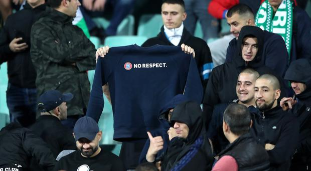 Bulgaria fans display a sweatshirt with the words No Respect at the Vasil Levski National Stadium, Sofia (Nick Potts/PA)