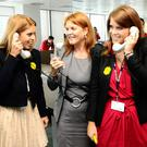 The Duchess of York with her daughters Princess Beatrice and Princess Eugenie (Ian West/PA)