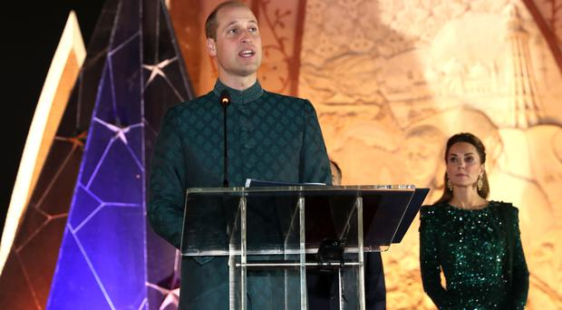 The Duke of Cambridge speaks at a reception at the National Monument in Islamabad (Chris Jackson/PA)
