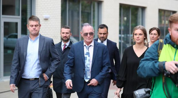 Former England footballer Paul Gascoigne arrives at Teesside Crown Court in Middlesbrough where he is appearing on charges of sexually assaulting a woman on a train. PA Photo. Picture date: Wednesday October 16, 2019. The former player was arrested for kissing a woman in August 2018 on a train between York and Newcastle. See PA story COURTS Gascoigne. Photo credit should read: Scott Heppell/PA Wire