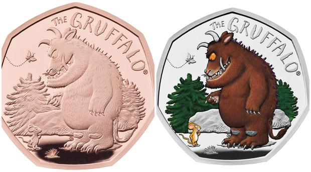 A new coin celebrating the Gruffalo's first meeting with Mouse is on sale from the Royal Mint (Royal Mint/PA)