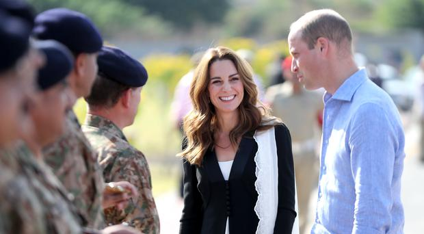 The Duke and Duchess of Cambridge during a visit to the Army Canine Centre in Islamabad (Chris Jackson/PA)