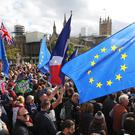 Anti-Brexit protesters fill Parliament Square on what was dubbed 'Super Saturday' (Andrew Matthews/PA)