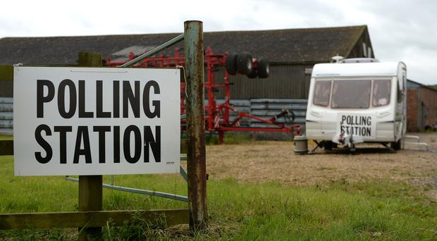 A caravan which was used as a polling station on Grange Farm in Garthorpe, Leicestershire, during the 2017 general election (Joe Giddens/PA)
