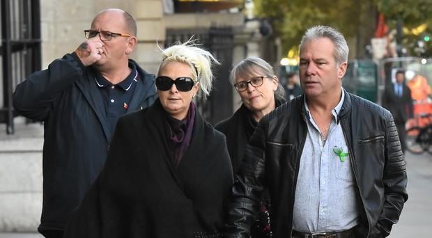 The family of Harry Dunn, (left to right) Tim Dunn (Harry's father), Charlotte Charles (Harry's mother), Tracey Dunn and Bruce Charles, arrive at Portcullis House, London for a meeting with shadow foreign secretary Emily Thornberry (Kirsty O'Connor/PA)