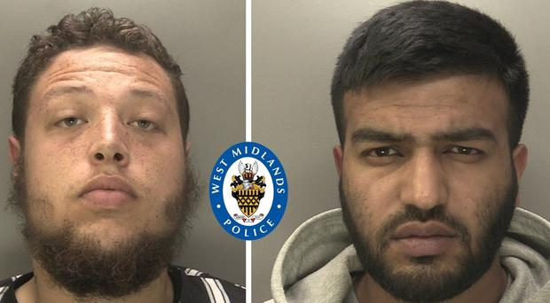 Custody images of Birmingham men Kyle Causer (left) and Tayub Zaman, who have been jailed for an attack on a man at a bus stop in July. (Credit: West Midlands Police/PA)