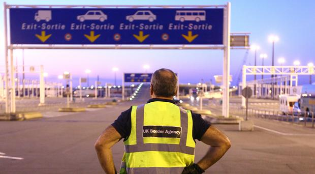 UK Border Agency staff at the ferry port in Calais, France (Gareth Fuller/PA)