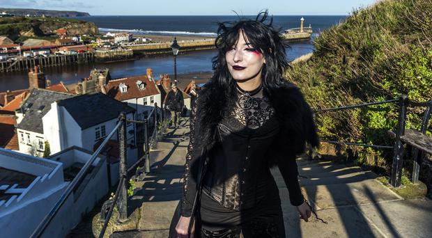A woman attends the Whitby Goth Weekend (Danny Lawson/PA)