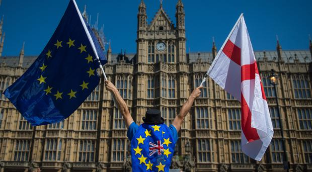 An anti-Brexit demonstrator holds European Union and England flags outside the Houses of Parliament (PA)