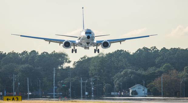 The first RAF P-8A Poseidon landing at NAS Jacksonville (Crown copyright/PA)