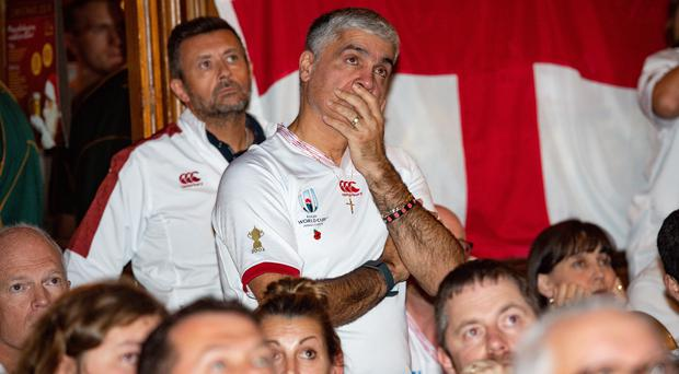 England fans at The Merchants Inn in Rugby, Warwickshire (Jacob King/PA)
