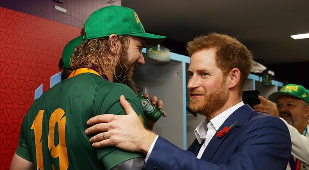 The Duke of Sussex with RG Snyman of South Africa following the Rugby World Cup Final (World Rugby/PA)