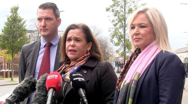 Sinn Fein president Mary Lou McDonald, flanked by North Belfast candidate John Finucane and party vice president Michelle O'Neill (David Young/PA)