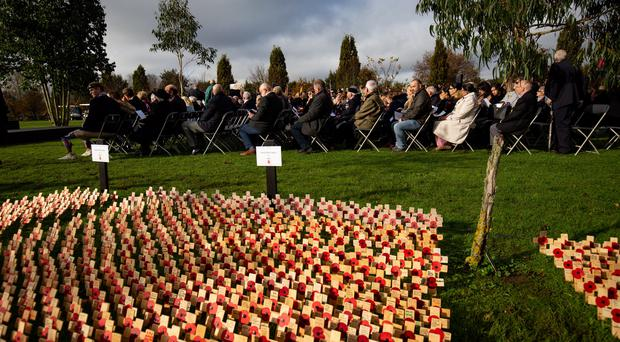 Veterans and family members at the opening of the 2019 Royal British Legion Field of Remembrance (Jacob King/PA)