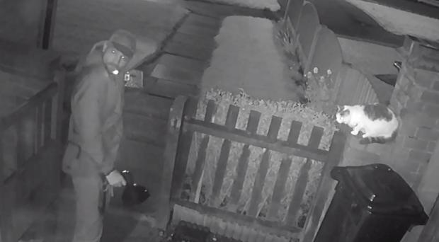 CCTV image of a man who deliberately set his dog on a pet cat (RSPCA/PA)