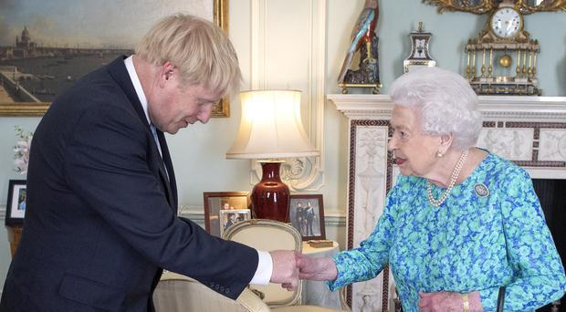 The Queen with PM Boris Johnson at Buckingham Palace (Victoria Jones/PA)