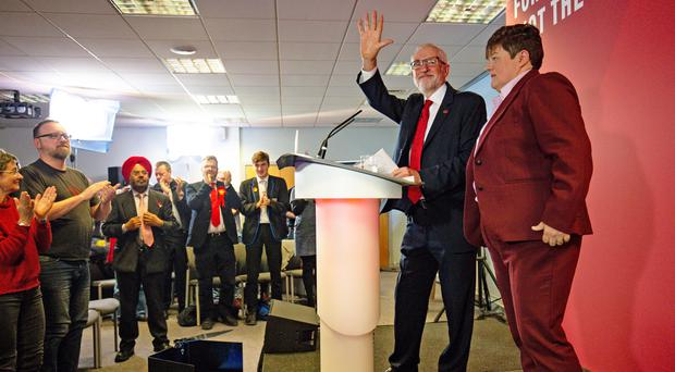 Labour Party leader Jeremy Corbyn alongside Katrina Gilman, Labour's parliamentary candidate for Telford (Jacob King/PA)