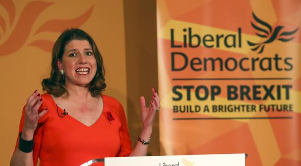 Liberal Democrat leader Jo Swinson speaking at the launch the Liberal Democrat General Election campaign at the Institute of Civil Engineers in London. PA Photo. Picture date: Tuesday November 5, 2019. (Steve Parsons/PA)