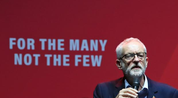 Labour leader Jeremy Corbyn addresses a Labour rally at the O2 Academy in Manchester (Peter Byrne/PA)
