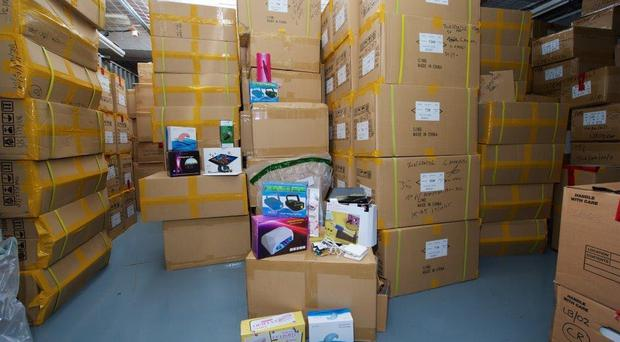 Undated handout photo issued by National Trading Standards of some of tens of thousands of dangerous electrical items which are to be destroyed following a raid.